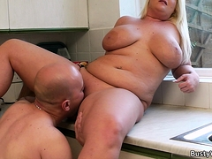 He licks and fucks her heavy shaved pussy