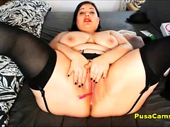 Chunky Latina Babe With Enormous Boobs Anal Plus Pussy Masturbate
