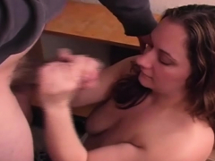 Cum On Her BBW Tits After a Hard Stroking Hand Job