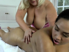 Lesbian gran masseuse oils all round asian babe